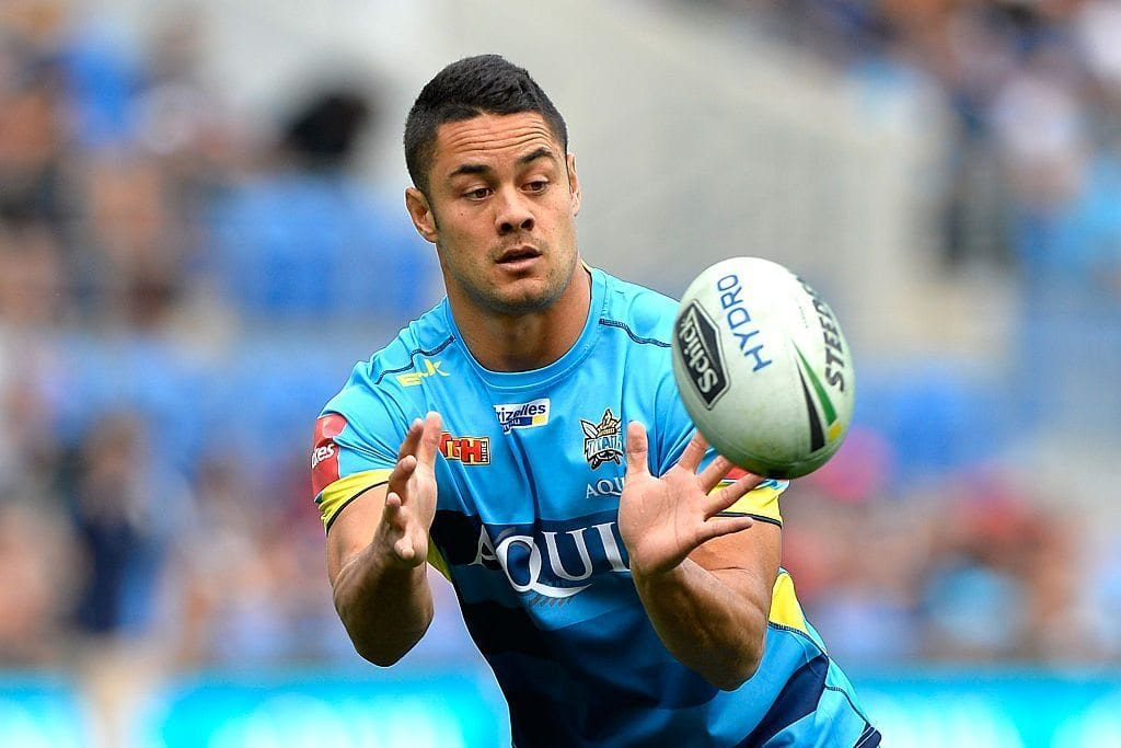 GOLD COAST, AUSTRALIA - AUGUST 07:  Jarryd Hayne of the Titans catches the ball during the team warm ups before the round 22 NRL match between the Gold Coast Titans and the New Zealand Warriors at Cbus Super Stadium on August 7, 2016 in Gold Coast, Australia.  (Photo by Bradley Kanaris/Getty Images)